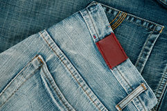 Empty leather label. View of jeans for your good band name Royalty Free Stock Images