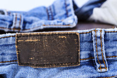 Empty leather label view of jeans Royalty Free Stock Photos