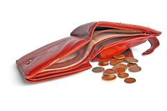 Empty leather wallet with a small change. A hole in the budget.isolated Royalty Free Stock Photos