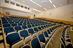 Empty lecture hall in college. Empty college lecture hall in university Stock Image