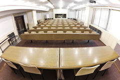 Empty lecture  hall, fish eye view Stock Image