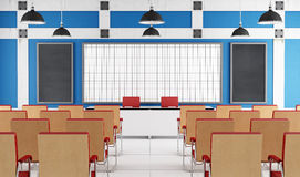 Empty lecture hall. With white board and chairs Royalty Free Stock Photo