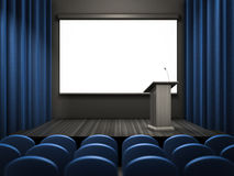 Empty lecture room template. Template of an empty lecture blue room Stock Photos