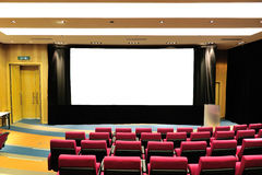 Empty lecture theater. With white board stock images