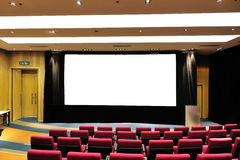 Empty lecture theater. With white board stock image