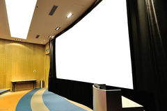 Empty lecture theater. With white board stock photography