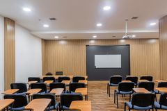 Lecture and training room. Empty lecture, training and presentation room. classroom royalty free stock image