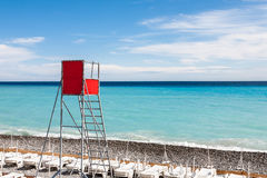 Empty lifeguard observation point. Empty lifeguard observation place on a beach in Nice stock image