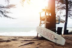 Empty lifeguard stand with rescue board on the beach at Phuket Royalty Free Stock Image