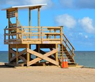 Empty lifeguard station  Stock Images