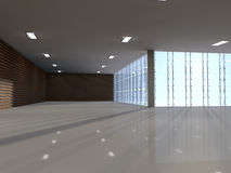 Empty light big hall 3D rendering Royalty Free Stock Images