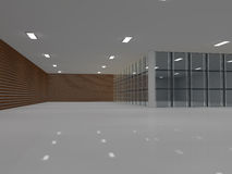 Empty light big hall 3D rendering Royalty Free Stock Photos