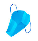 Empty light blue gift bag falls through the air. On an isolated white background Stock Photos