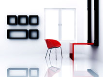 Empty light room. With chair and table and shelves Royalty Free Stock Images