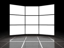 Empty light screen displays. Around black space Royalty Free Stock Photo