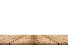 Empty light wood table top isolate on white background. Royalty Free Stock Image