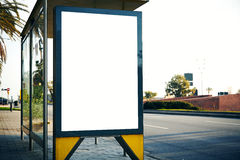 Empty lightbox on the bus stop. Horizontal mockup Stock Photos
