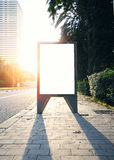 Empty lightbox on the bus stop. Sunlights effects Stock Image