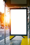 Empty lightbox on the city bus stop. Vertical Stock Images