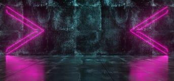 Futuristic Sci-Fi Empty Lighted Dark Grunge Concrete Room With N. Empty Lighted Dark Grunge Concrete Room With Neon Lights Pointing Arrows In The Middle. 3D Stock Photos