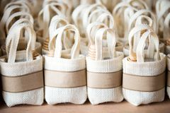 Empty little sack made of linen on canvas royalty free stock photos