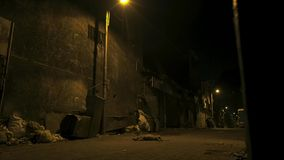 Empty little street in slums of the capital of India stock photo