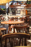 Empty little tables of cafeteria Royalty Free Stock Photo