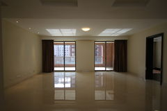 Empty living in new apartment stock images