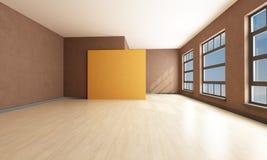 Empty living room. Empty brown and orange  modern living room - rendering Stock Photos