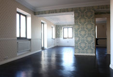 Empty living-room. With black parquet Stock Photography