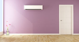 Empty living room with air conditioner Stock Photos