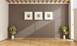 Empty living room with brown wall Stock Photography