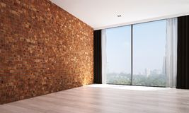 The empty living room interior design and red brick wall pattern background and city view Stock Photo