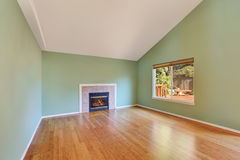 Empty living room interior in a new construction house. Great room comes with a gas fireplace , green walls and polished hardwood floor. Northwest, USA Royalty Free Stock Image