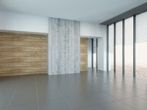 Empty living room interior with wooden and concrete wall Stock Image