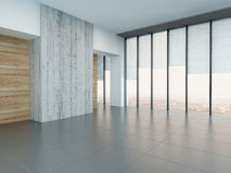 Empty living room interior with wooden and concrete wall Stock Photography