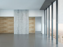 Empty living room interior with wooden and concrete wall Stock Photo