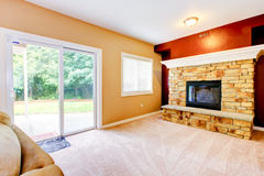 Empty Living room with large fireplace Stock Image