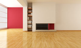 Empty living room with minimalist fireplace. Minimalist fireplace in a e empty modern living room - rendering Royalty Free Stock Photography