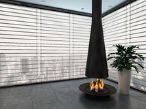 Empty living room with modern fireplace. Image of Empty living room with modern fireplace Royalty Free Stock Photography
