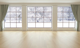 Empty Living Room With Snowy Landscape Royalty Free Stock Images