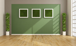 Empty living room with vertical grass in frame Royalty Free Stock Images