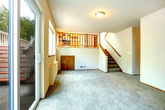Empty living room with walkout deck Stock Photo
