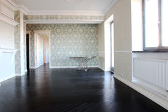 Empty livingroom. With black parquet Royalty Free Stock Image