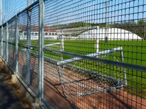 Free Empty, Locked Down Soccer And Sport Field Behind Metal Fence Stock Images - 179088444