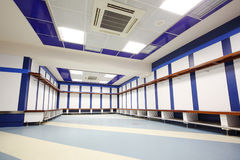 Empty locker room in Santiago Bernabeu Stadium Stock Images