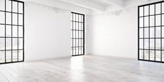 Empty loft apartment. 3d rendering