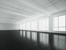 Empty loft interior with black floor. 3d rendering. White empty office interior with large windows Stock Image
