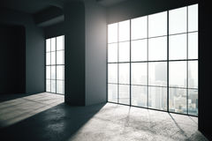 Empty loft interior with large windows backlit Stock Images