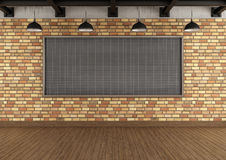 Empty loft with large blackboard squared Stock Photos